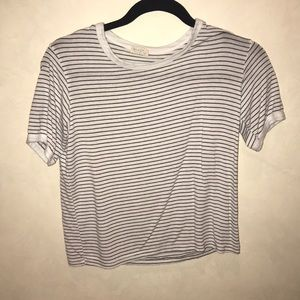 Brandy Melville White Striped Ringer Tee (OS)